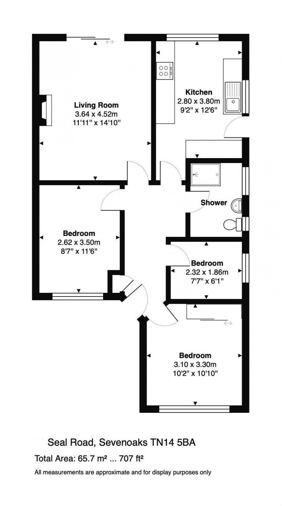 Floorplan for Semi-Detached Bungalow Walking Distance to Bat & Ball Station with Development Potential stpp, Seal Road, Sevenoaks