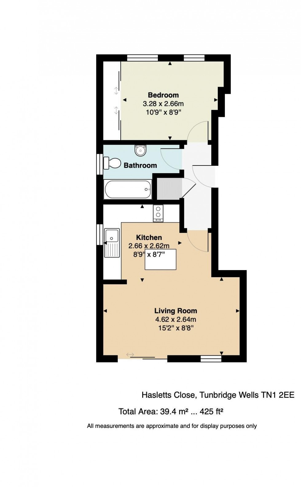 Floorplan for One Bedroom Ground Floor Flat with Parking, Hasletts Close, Tunbridge Wells