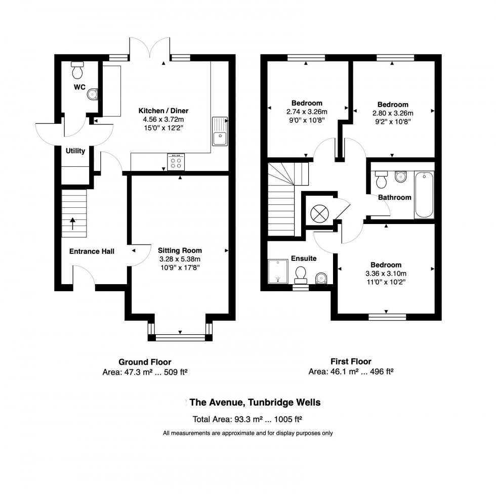 Floorplan for Three Bedroom Two Bathroom Semi-Detached House, The Avenue, Tunbridge Wells