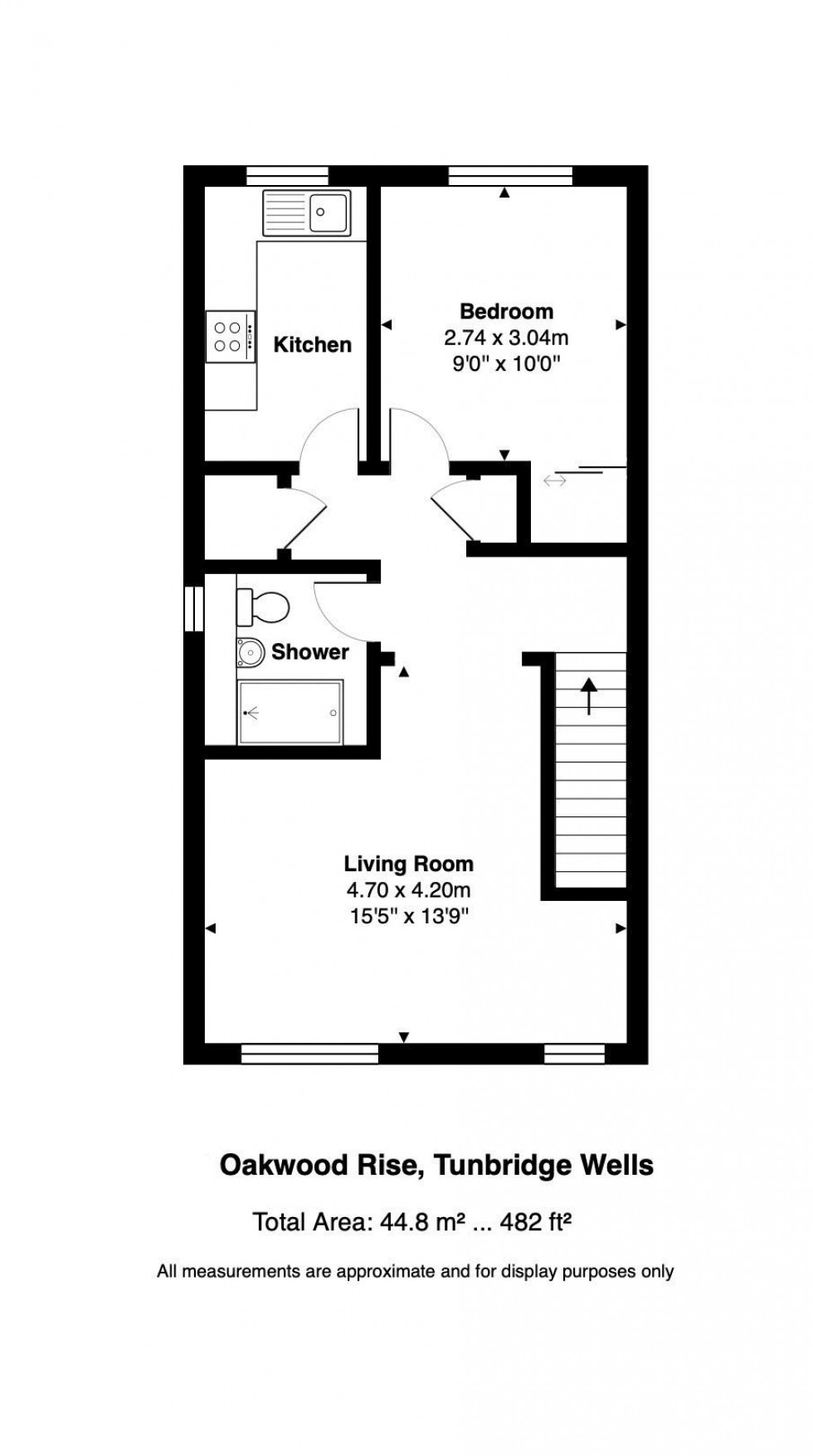 Floorplan for First Floor One Bedroom Flat with Parking, Oakwood Rise, Tunbridge Wells