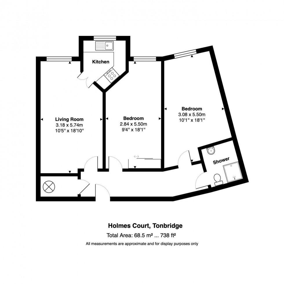 Floorplan for 2 Bedroom Third Floor Retirement Flat, Medway Wharf Road, Tonbridge