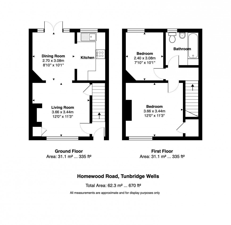 Floorplan for 2 Bedroom Terraced Cottage on Homewood Road, Langton Green, Tunbridge Wells