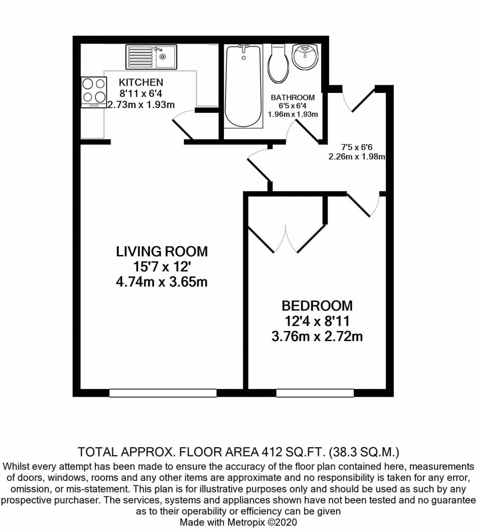 Floorplan for One Bedroom Ground Floor Flat with Allocated Parking, Durham Avenue, Bromley BR2