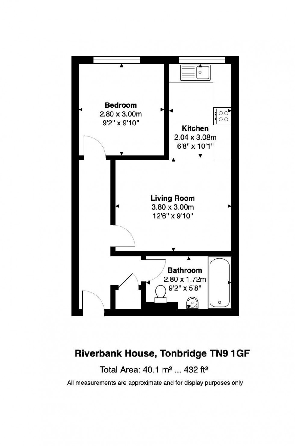 Floorplan for Modern 1 Bedroom Flat with Parking, Angel Lane, Tonbridge, TN9 1GF