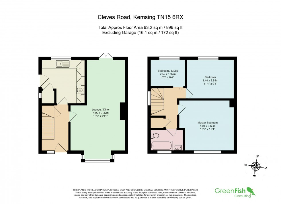 Floorplan for 3 Bed Semi-Detached House in Quiet Cul-De-Sac, Cleves Road, Kemsing, Sevenoaks