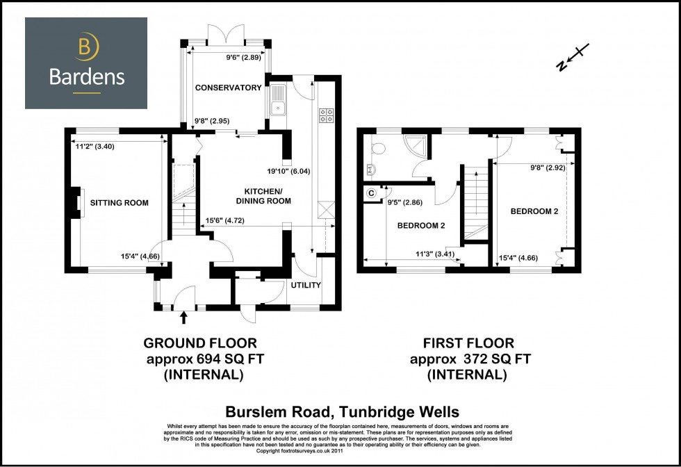 Floorplan for Two Bed Three Reception House with Garden and Driveway Parking in Burslem Road TN2