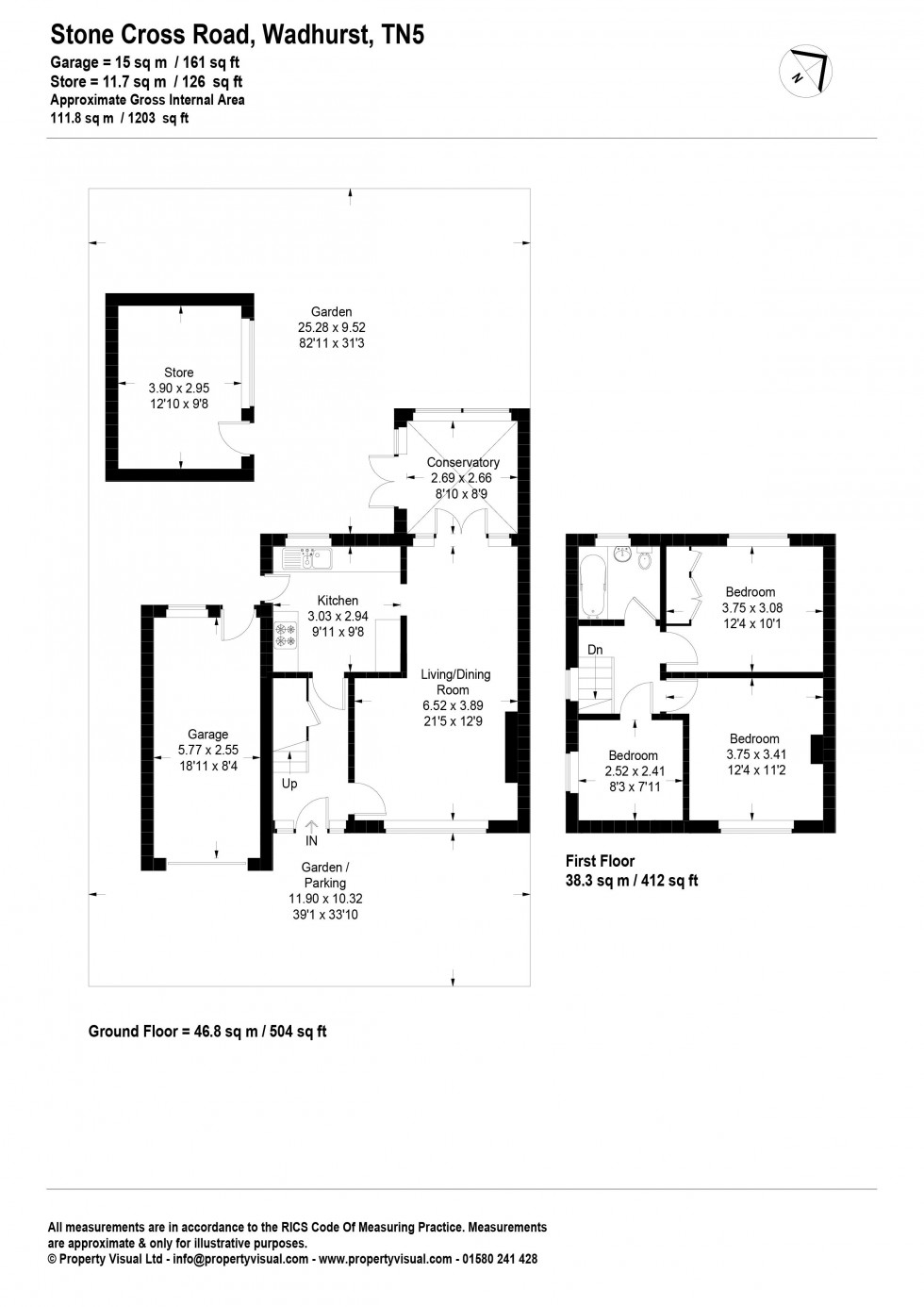 Floorplan for Three Bed Semi Detached House with Scope to Extend stpp on Stone Cross Road, Wadhurst, TN5 6LR - NO CHAIN