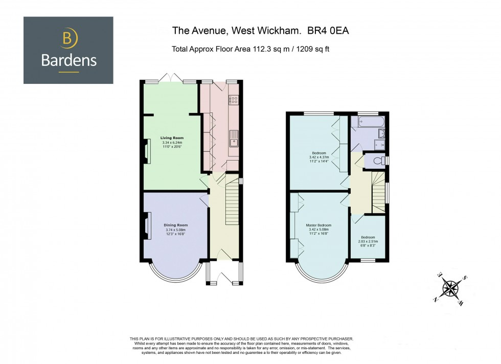 Floorplan for 3 Bedroom Semi-Detached House with Driveway Parking and Garden on The Avenue, West Wickham, BR4 0EA