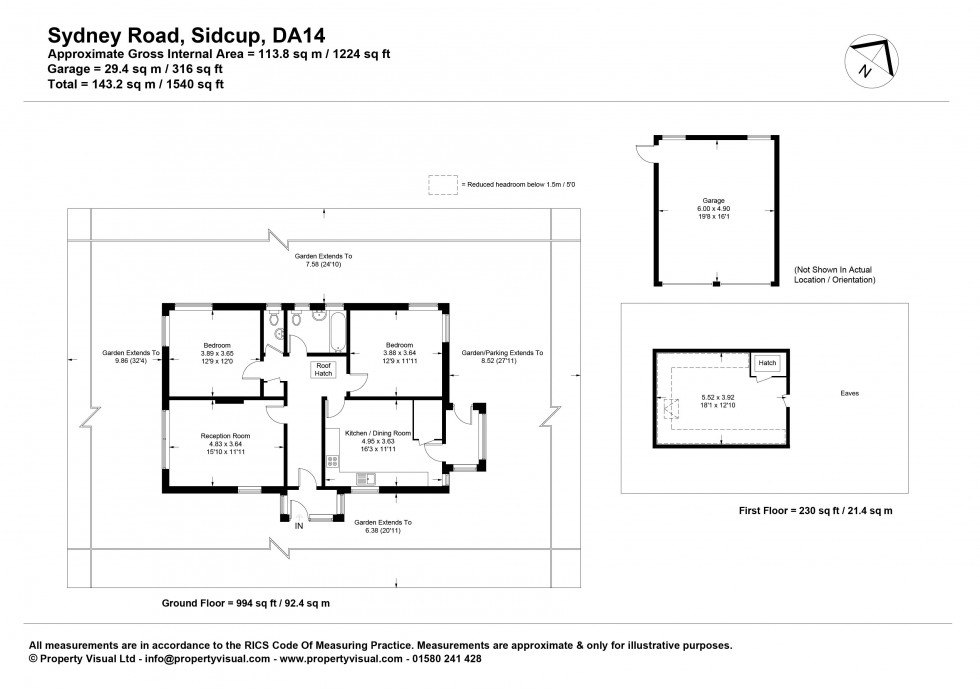 Floorplan for Two-Three Bedroom Detached Bungalow on Corner Plot with Development Potential stpp, Sydney Road, Sidcup