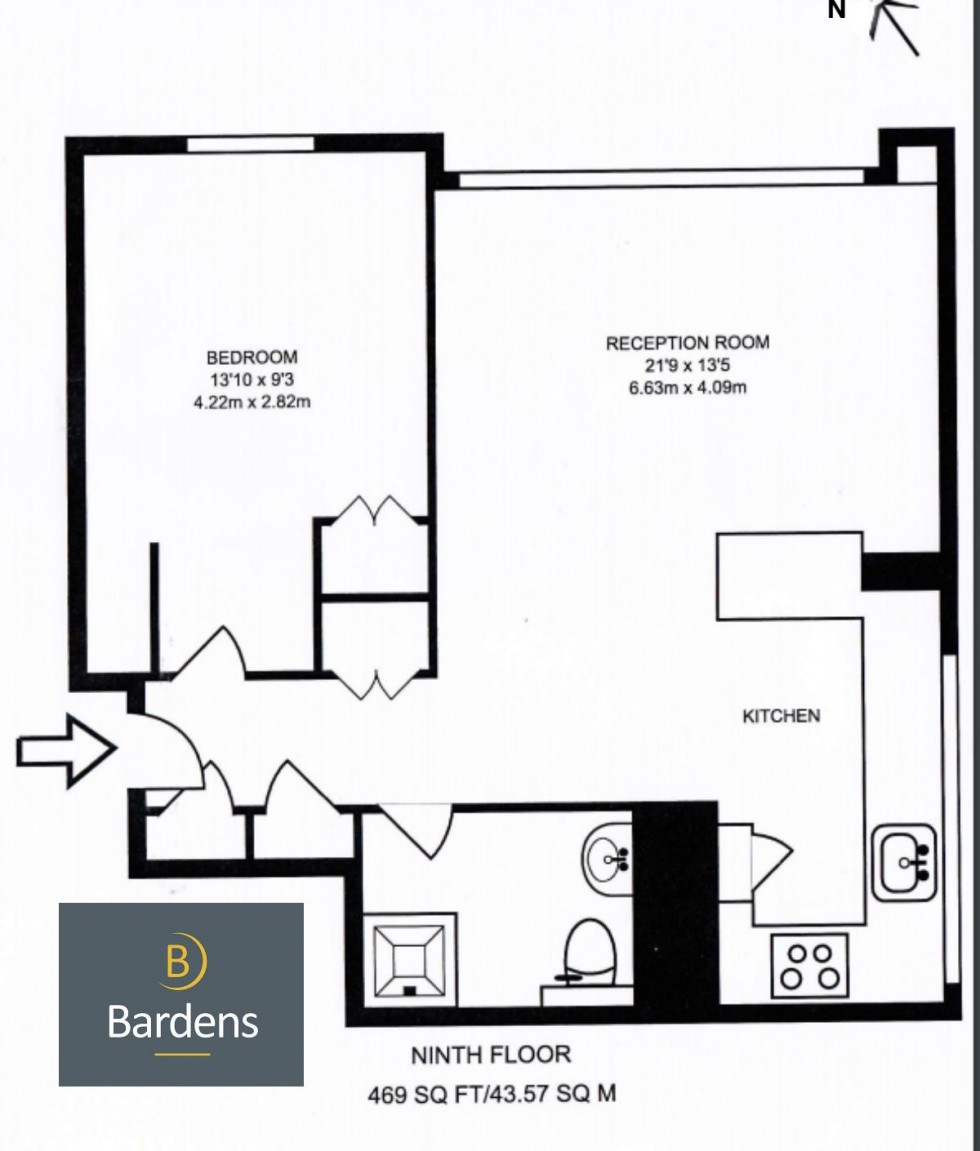 Floorplan for One Bedroom Flat with Open Plan Kitchen Living Room, Canada Estate, SE16 7BE - NO TENANT FEES!