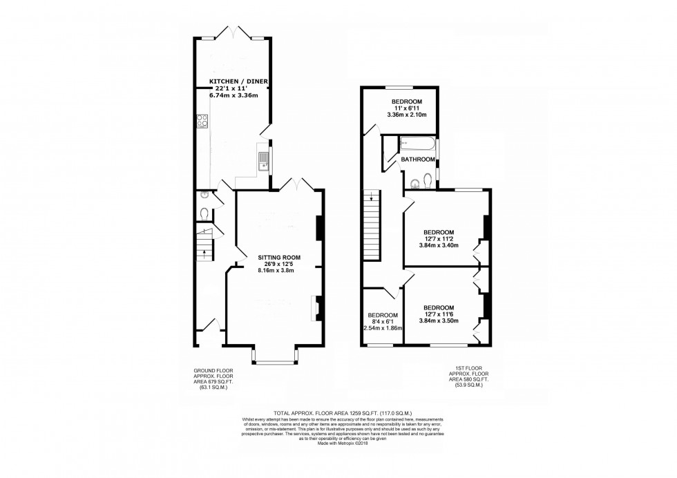 Floorplan for 4 Bedroom Terraced Family Home Close to Station, Prospect Road, Tunbridge Wells