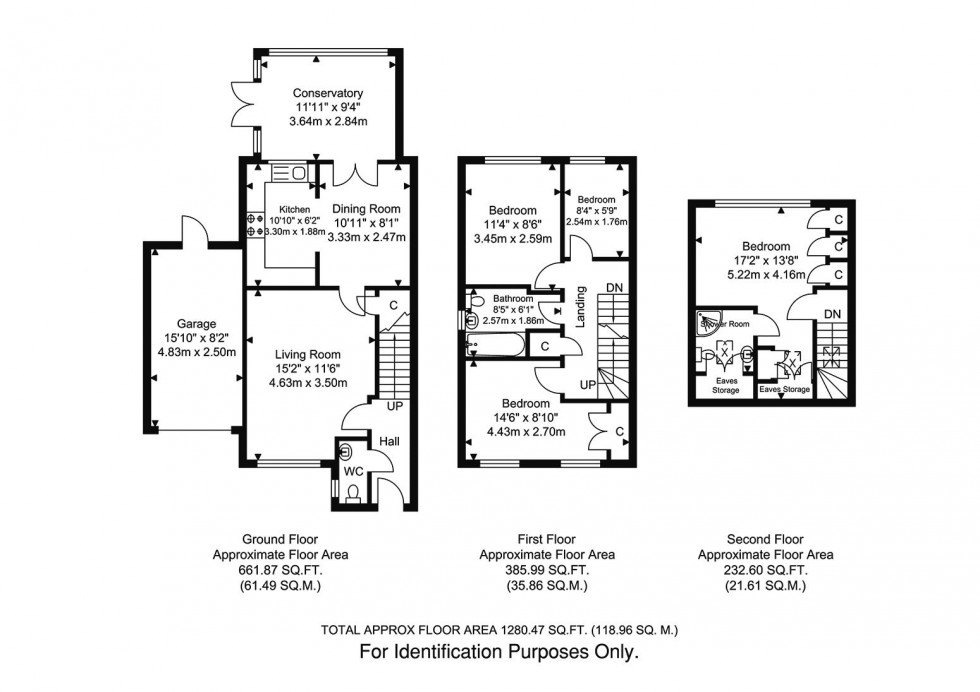 Floorplan for 4 Bedroom 2 Bathroom Link Detached House with Garage and Garden, Gwynne Road, Caterham