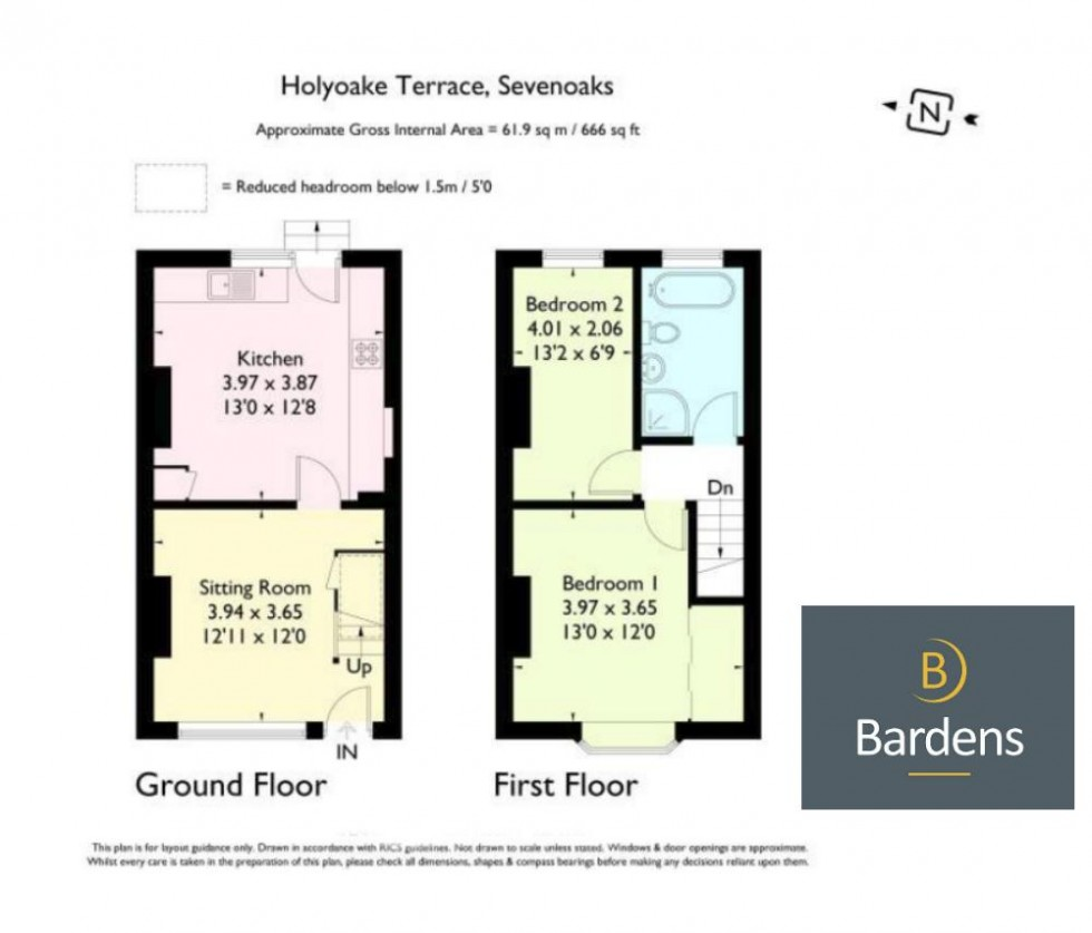 Floorplan for Two Double Bedroom Semi-Detached House Close to Sevenoaks Station - NO TENANT FEES!