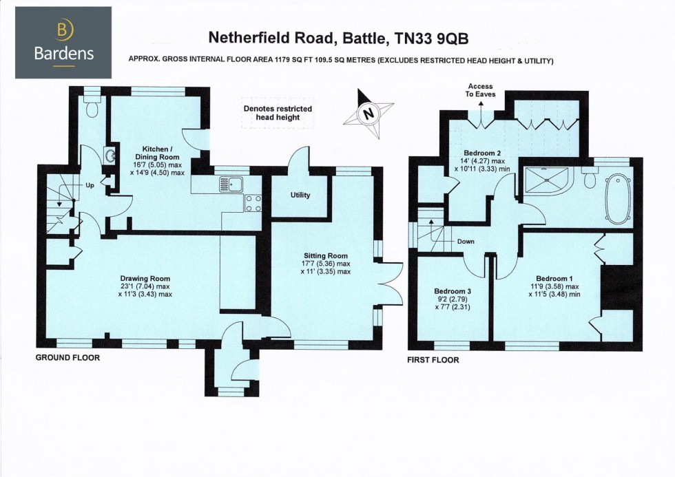 Floorplan for Three Bedroom Detached House, Netherfield, Battle