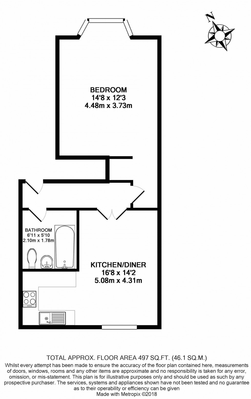 Floorplan for One Bedroom Ground Floor Flat on York Road, Close To Tunbridge Wells Station - NO TENANT FEES!