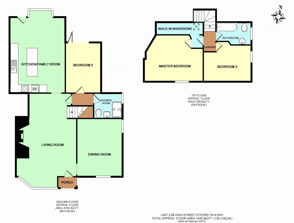 Floorplan for Otford High Street, 3 Bedroom 2 Bathroom Semi-Detached House with Garden and Parking