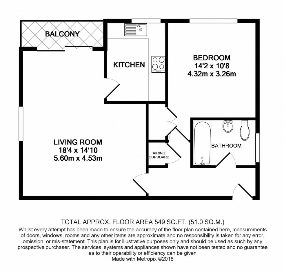 Floorplan for Spacious One Bedroom Apartment with Private Balcony and Parking, Ferndale Close, TN2 3RR - NO TENANT FEES!
