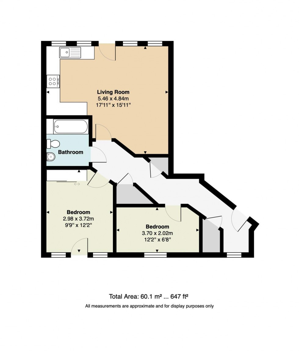 Floorplan for Modern Two Bedroom Apartment with Parking Close to Station, Addison Road, Tunbridge Wells