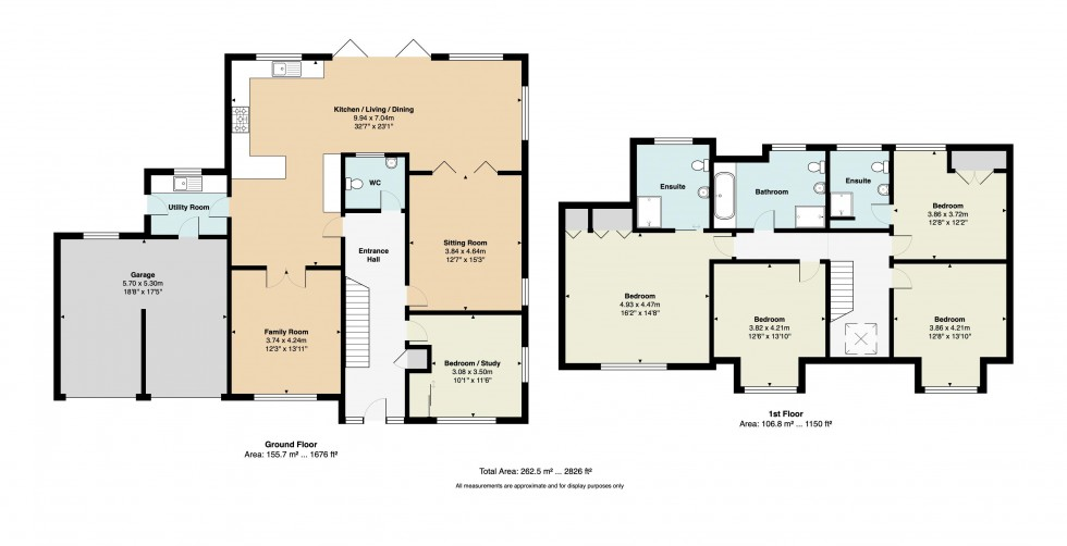 Floorplan for Four Bedroom Three Bathroom Detached House with Double Garage, Wellesley Close, Crowborough