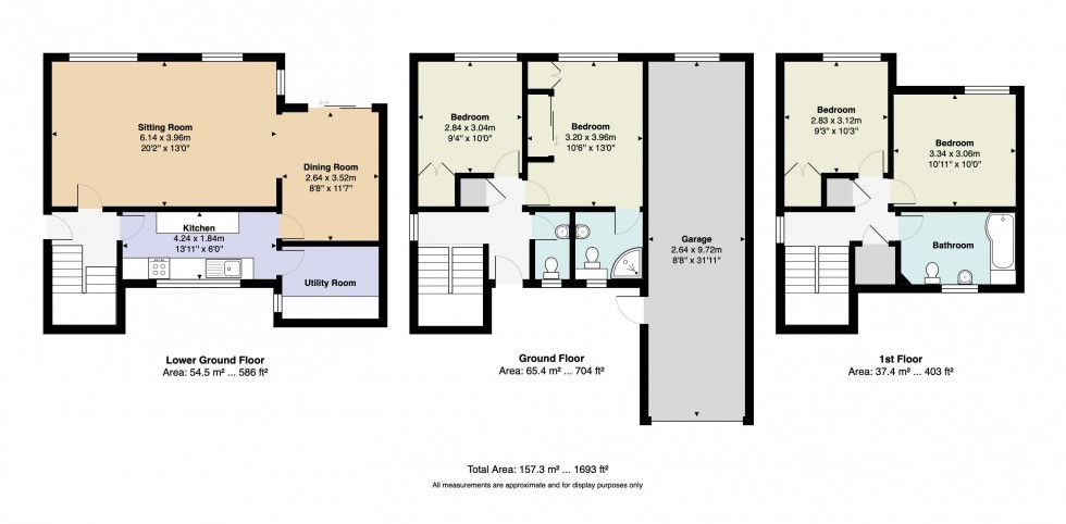 Floorplan for Four Bedroom House with Garage and Garden, Redleaf Close, Tunbridge Wells